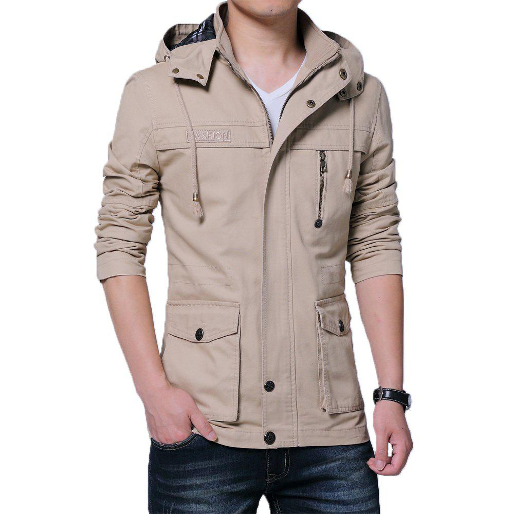 Cheap Men Autumn Stand Up Collar Solid Hoodies Jackets