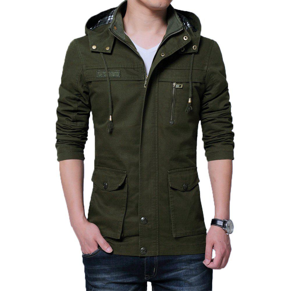 Hommes Automne Stand Up Collar Solid Hoodies Vestes