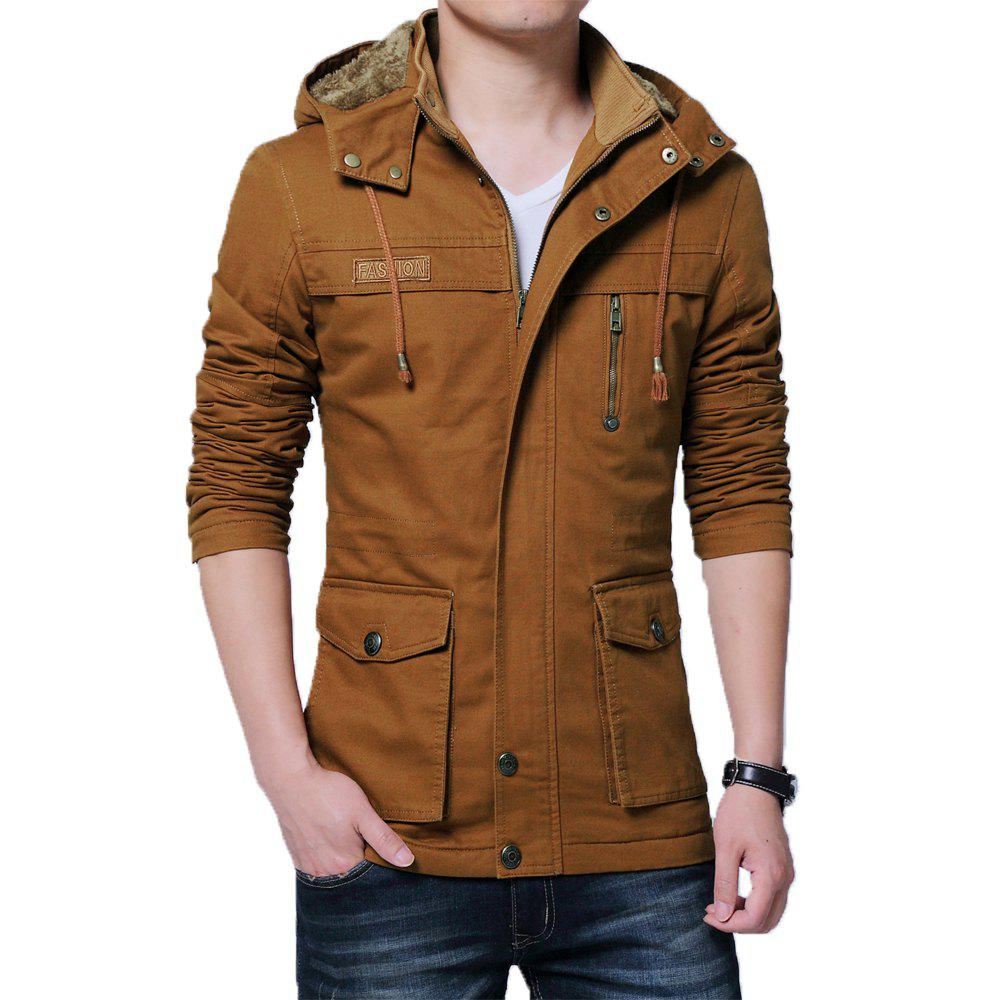 Discount Men Winter Cotton-padded Warm Stand Up Collar Jacket
