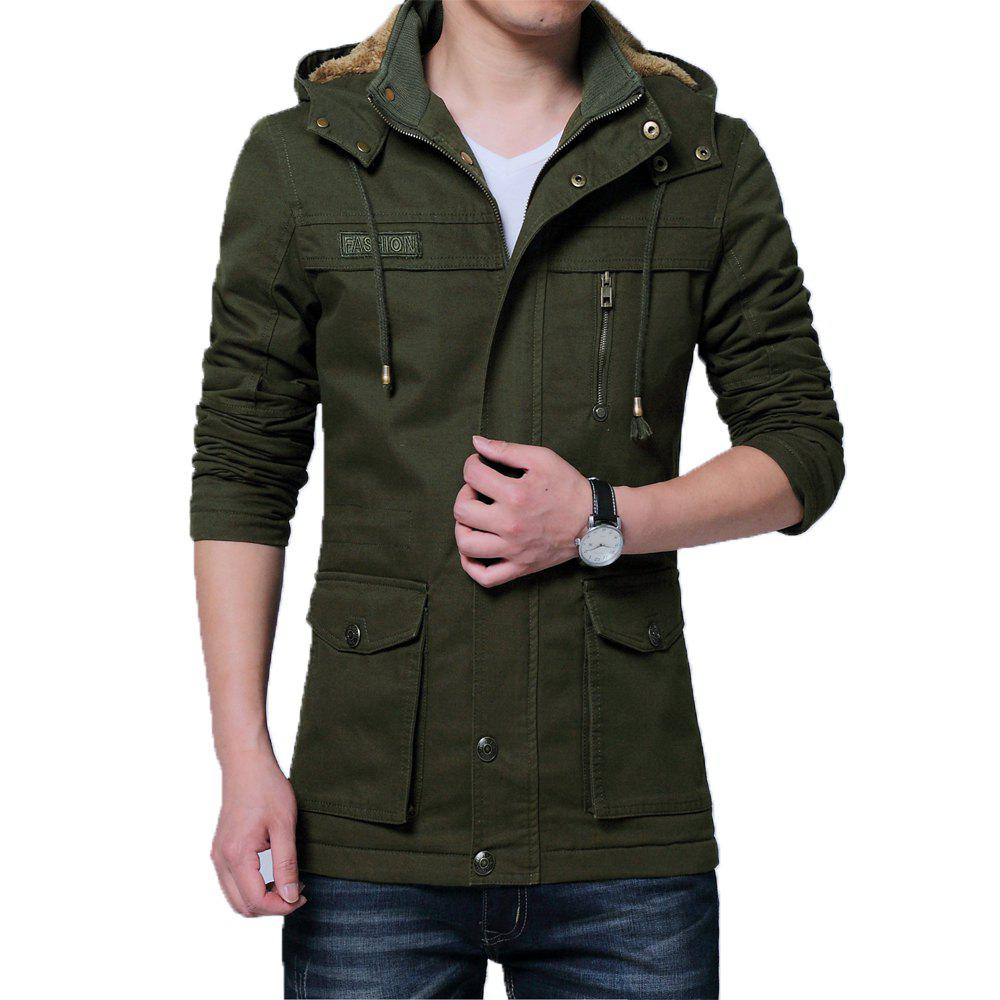 Shop Men Winter Cotton-padded Warm Collar Jacket
