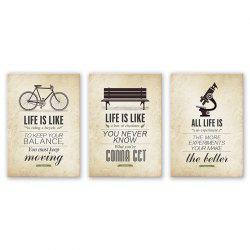 3PCS W541 Sentence Pattern Combination Frameless Painting -