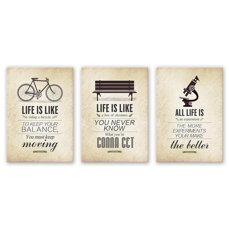 Buy 3PCS W541 Sentence Pattern Combination Frameless Painting