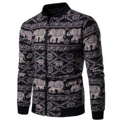 Men's  Long Sleeves Out Large Size Ethnic Style Print Jacket Jacket -