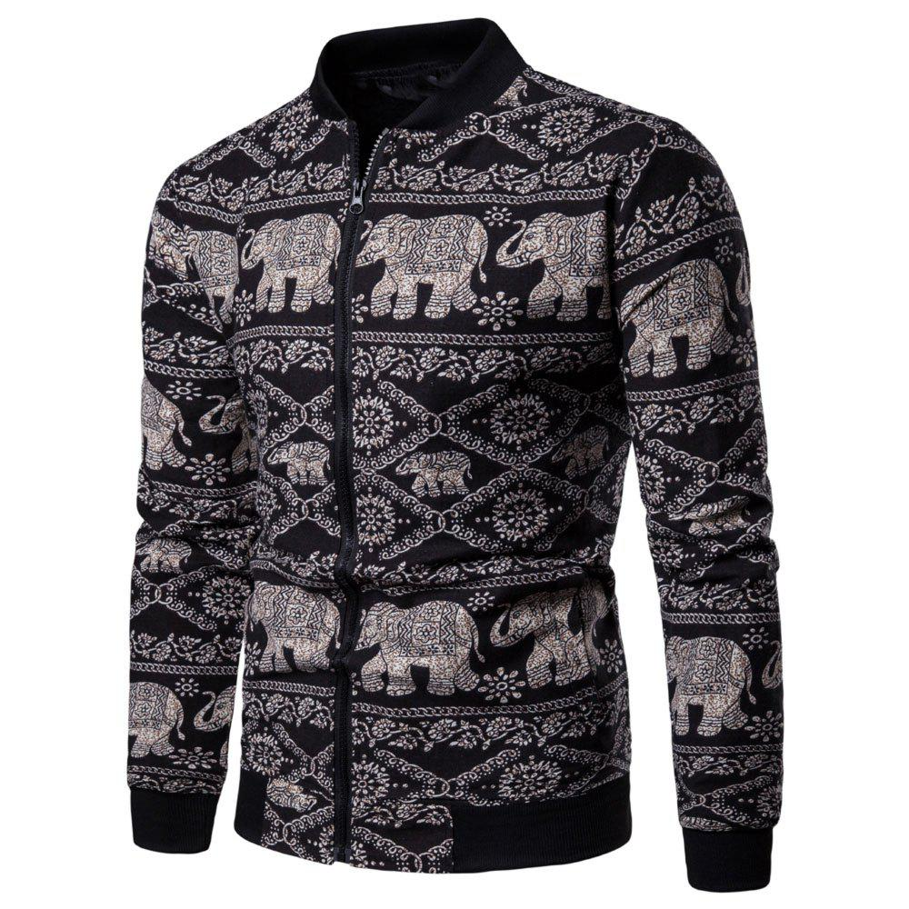 Discount Men's  Long Sleeves Out Large Size Ethnic Style Print Jacket Jacket