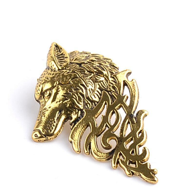 Sale Personality Men's Suit Collar Pin Domineering Wolf Head Brooch