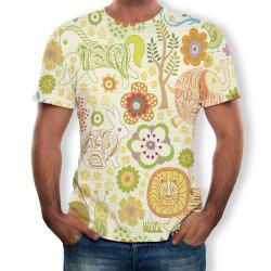 3D Fashion Casual Flower Men's Short Sleeve T-shirt -