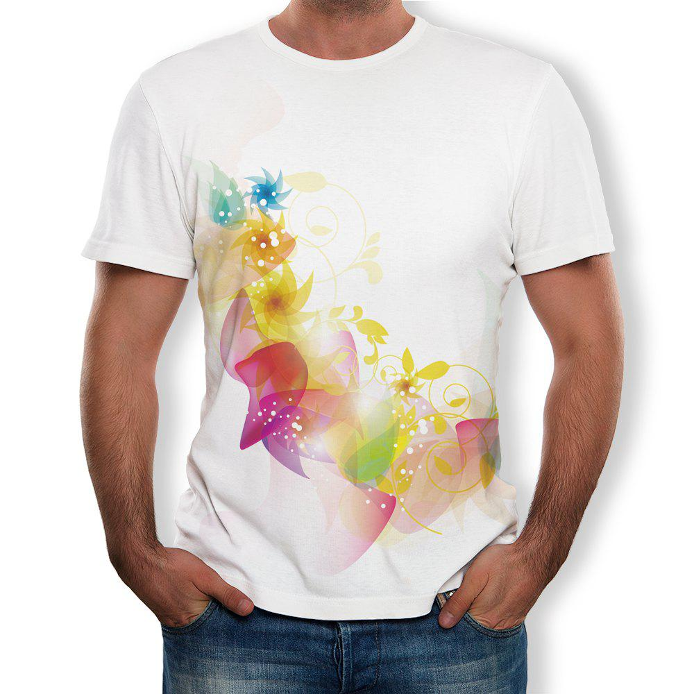 New 3D Fashion Casual Flower Men's Short Sleeve T-shirt