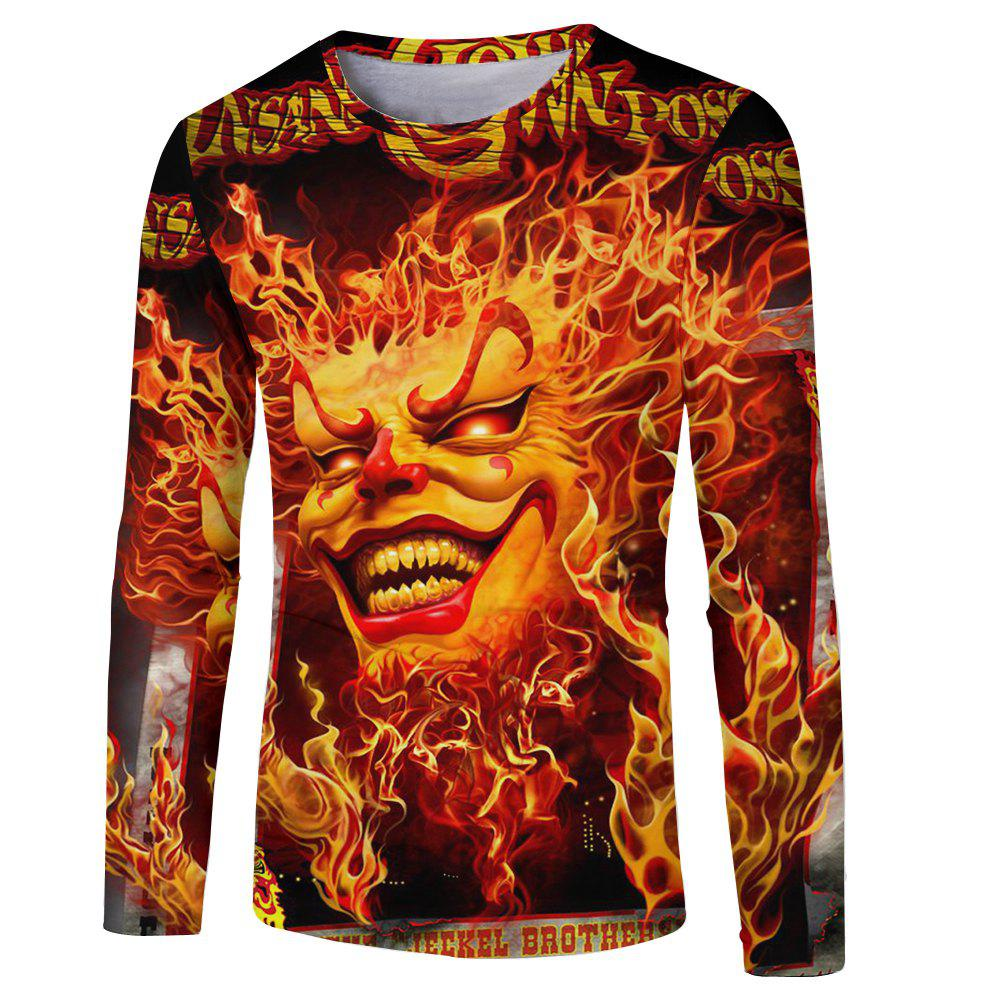 Affordable Men's New Fashion 3D Fire Ghost Digital Print Long-sleeved T-shirt