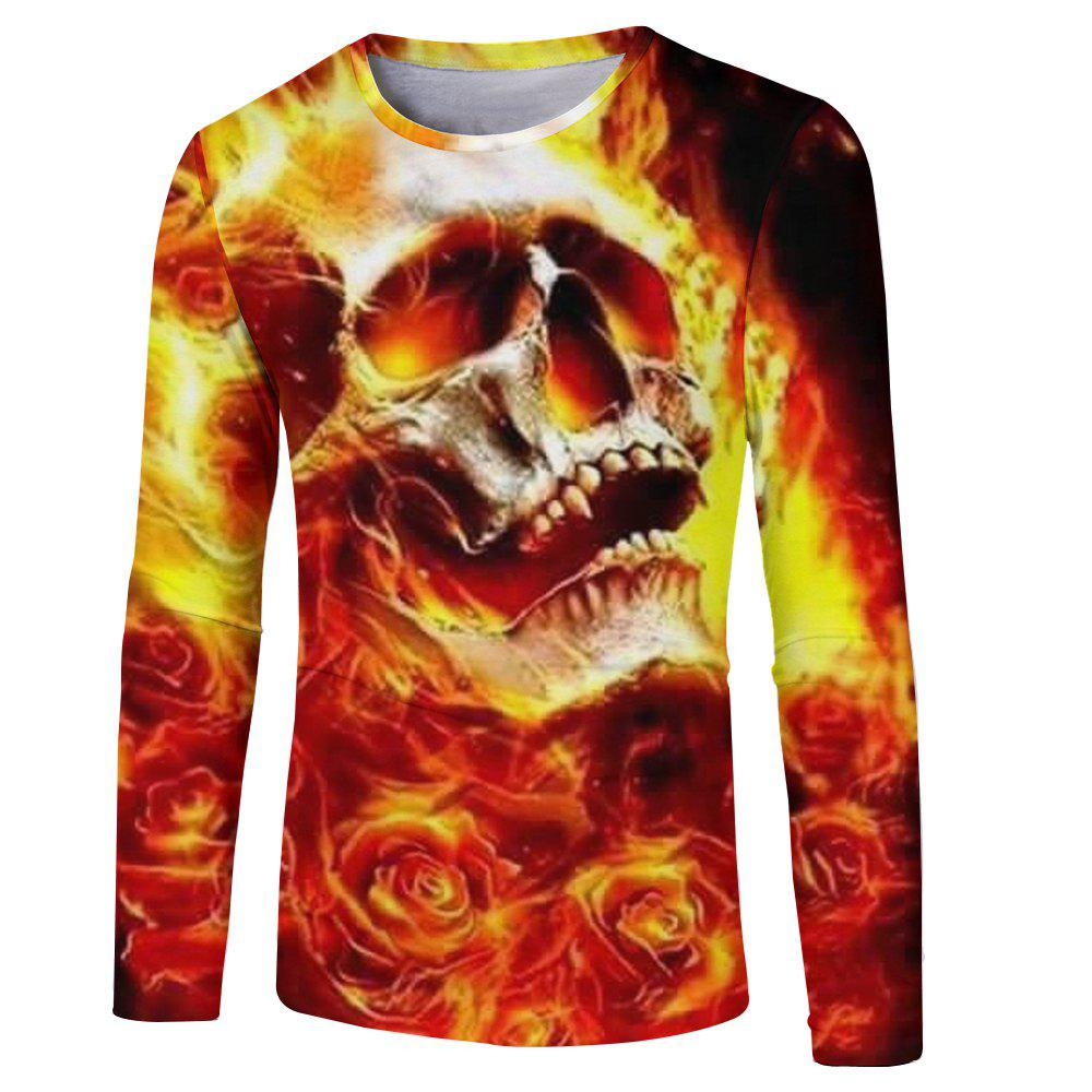 Discount Men's New Fashion 3D Fire Ghost Digital Print Long-sleeved T-shirt