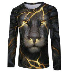 Fashion Classic 3D Lion Head Digital Printing Men's Long-sleeved Round Neck T-shirt -