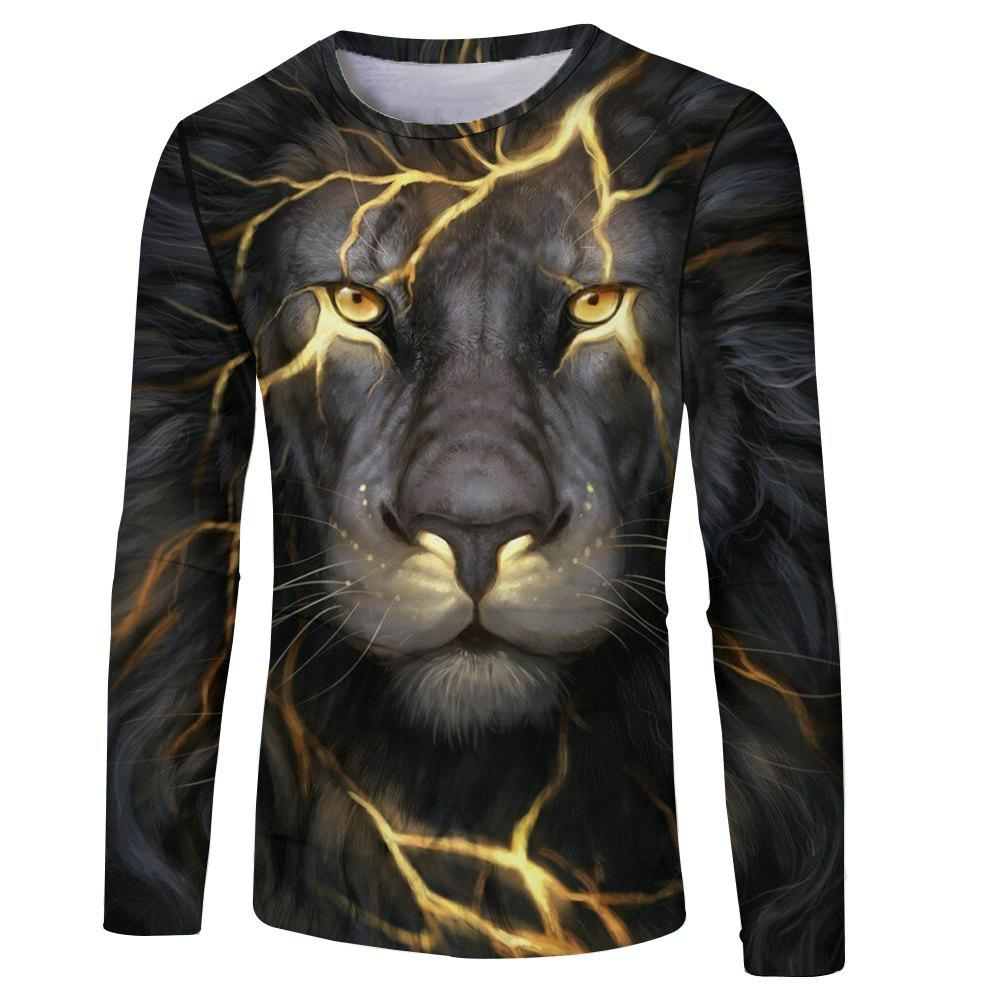 Affordable Fashion Classic 3D Lion Head Digital Printing Men's Long-sleeved Round Neck T-shirt