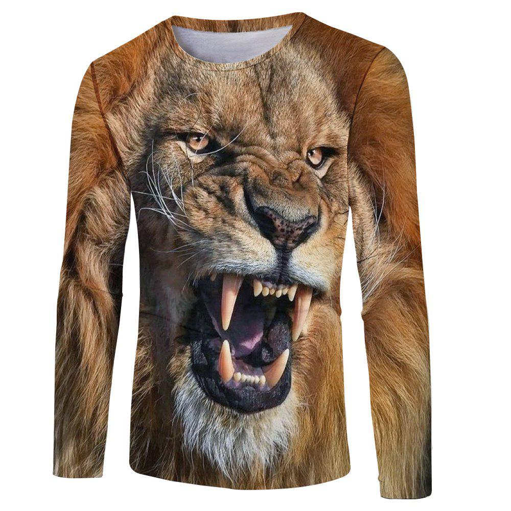 Shops Fashion Classic 3D Lion Head Digital Printing Men's Long-sleeved Round Neck T-shirt