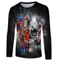 Fashion Personality 3D Human Wolf Face Digital Printing Men's Long-sleeved T-shirt -