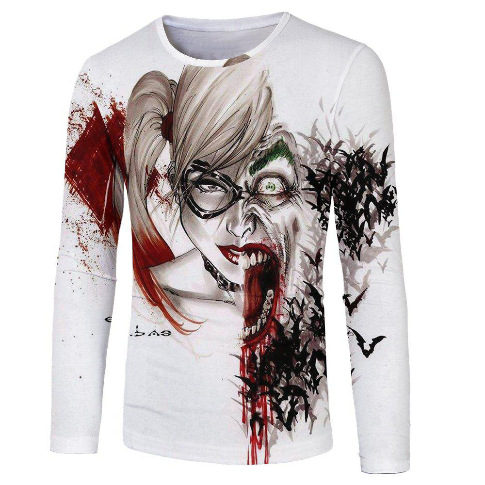 Online Fashion Personality 3D Human Wolf Face Digital Printing Men's Long-sleeved T-shirt