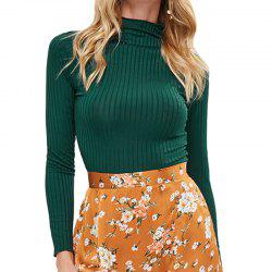 Knitting Solid High Collar Crop Tops -