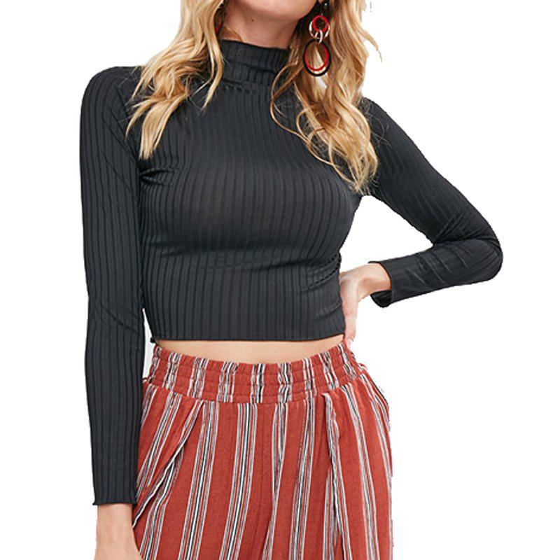 Outfits Knitting Solid High Collar Crop Tops