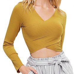 Knitted Cross Deep V Long Sleeved Bottoming Shirt -