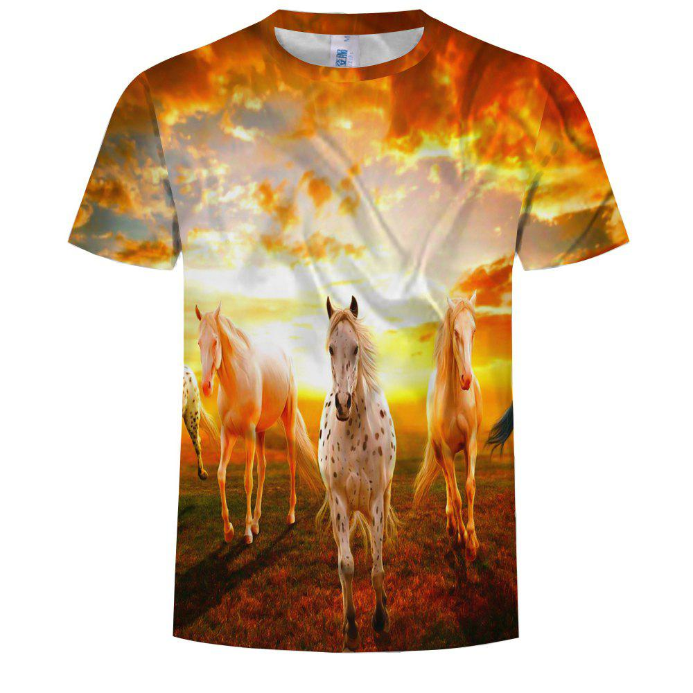 Discount Fashion 3D Printed Round Neck Short-sleeved T-shirt