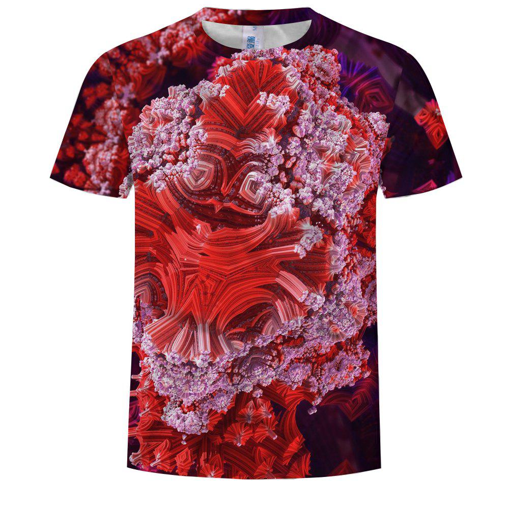Outfit Fashion 3D Printed Round Neck Short-sleeved T-shirt