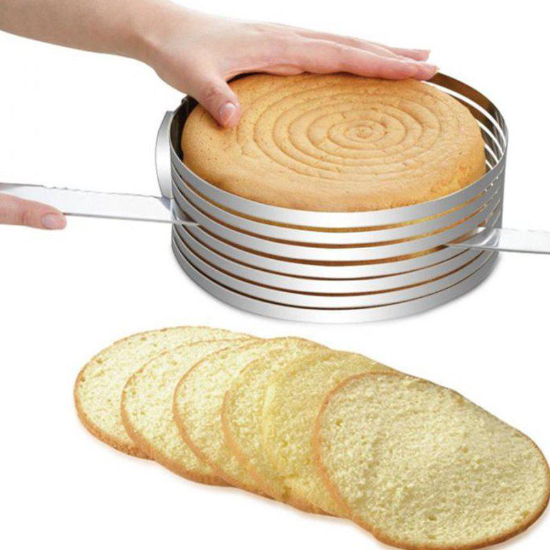 Fashion Stainless Steel Circle Mousse Cake Slicer Mold Cut Tools with Adjustable Ring