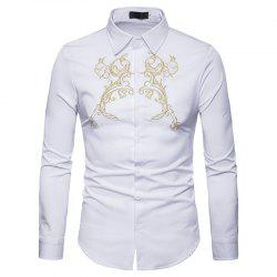 Men's Fashion Embroidered Lapel Long Sleeve Shirt -