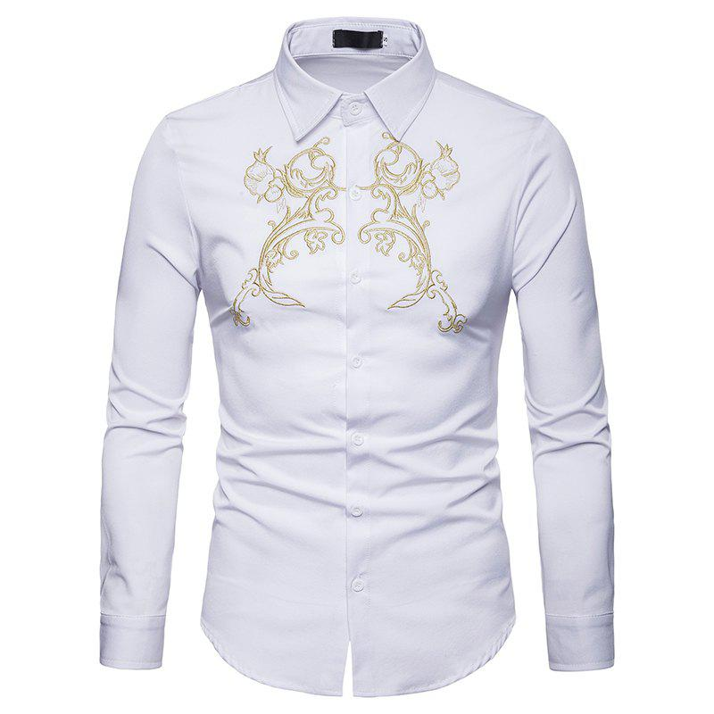 Outfit Men's Fashion Embroidered Lapel Long Sleeve Shirt