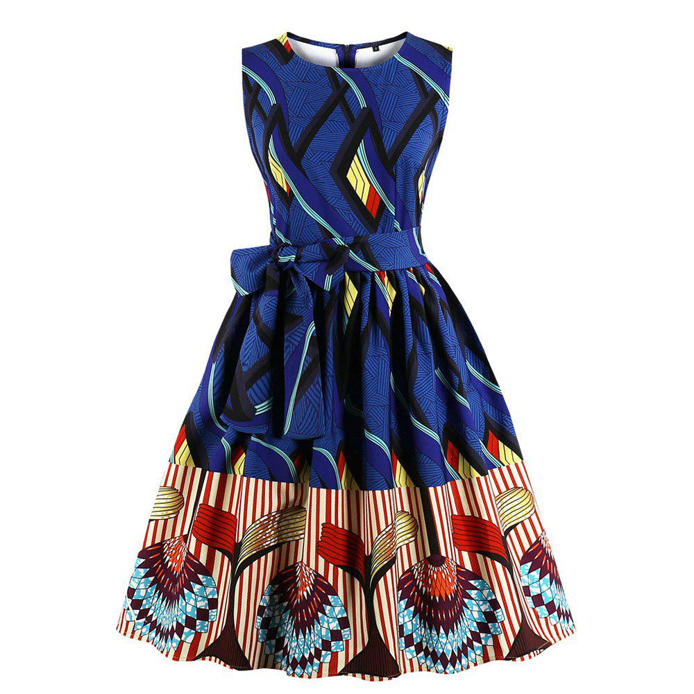 Shops Plus Size Round Collar Joining Together Contrast Color Dress