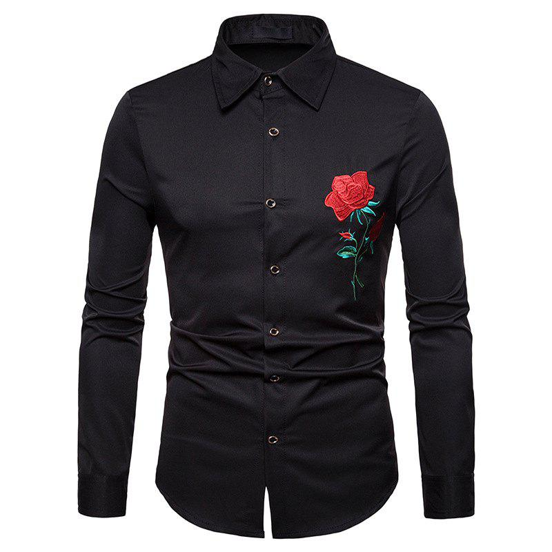Sale Men's Rose Embroidered Lapel Large Size Long Sleeve Shirt