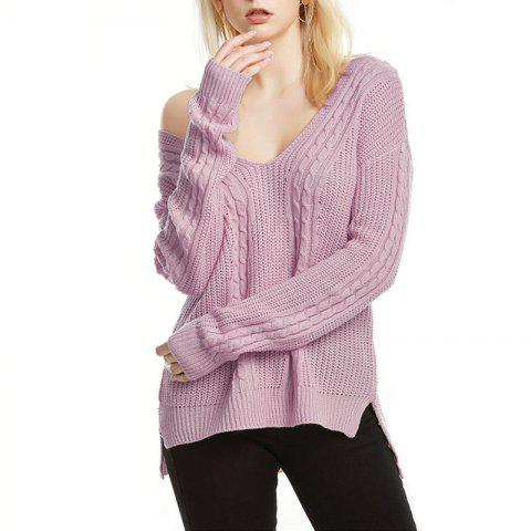 Solid Color V Collar Loose Pullover Sweater