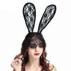 Bunny Sexy Rabbit Ears Lace Mask Headband for Halloween Christmas -