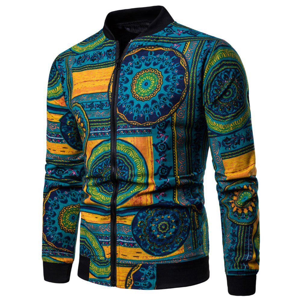 Shops Men's  Long-sleeved Large Size Ethnic Style Print Jacket