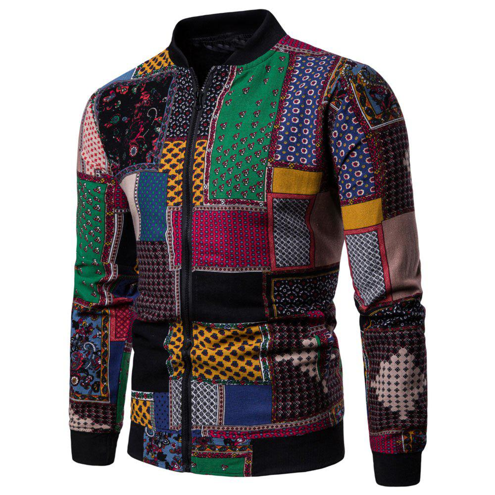 Fashion Men's  Long-sleeved Large Size Ethnic Style Print Jacket