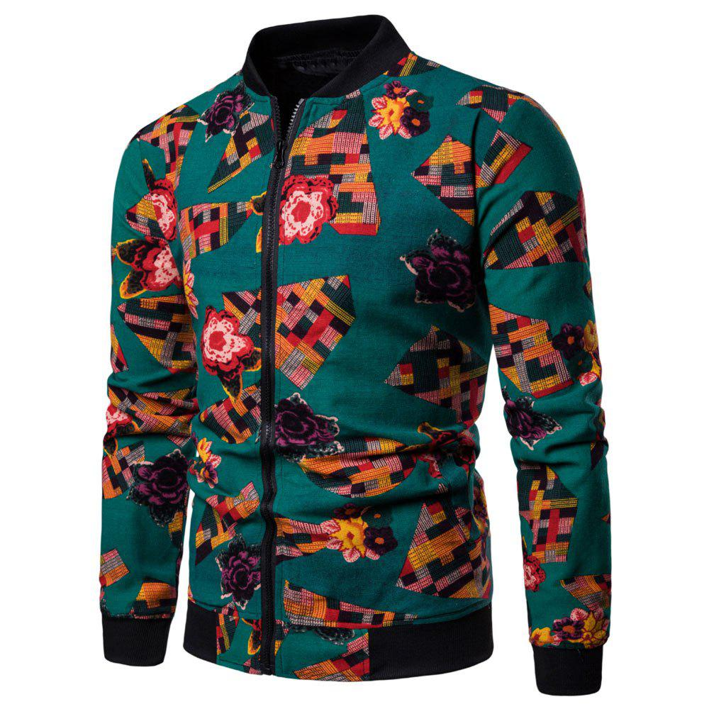 Best Men's  Large Size Out Long-sleeved Ethnic Style Print Jacket