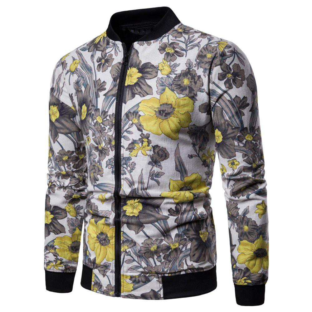 Sale Men's  Large Size Out Long-sleeved Ethnic Style Print Jacket