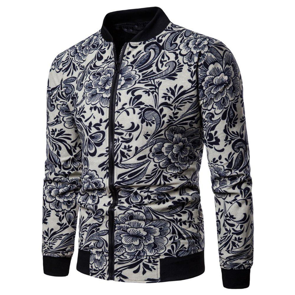 Fashion Men's  Large Size Out Long-sleeved Ethnic Style Print Jacket