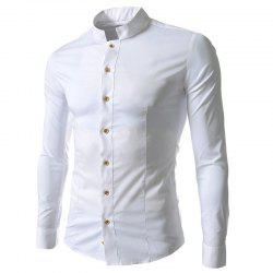 Evening Dress Casual Small Stand Collar Men's Slim Long Sleeve Lapel Shirt -