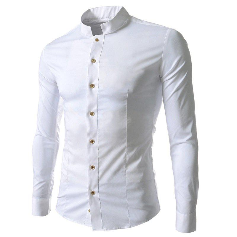 Buy Evening Dress Casual Small Stand Collar Men's Slim Long Sleeve Lapel Shirt