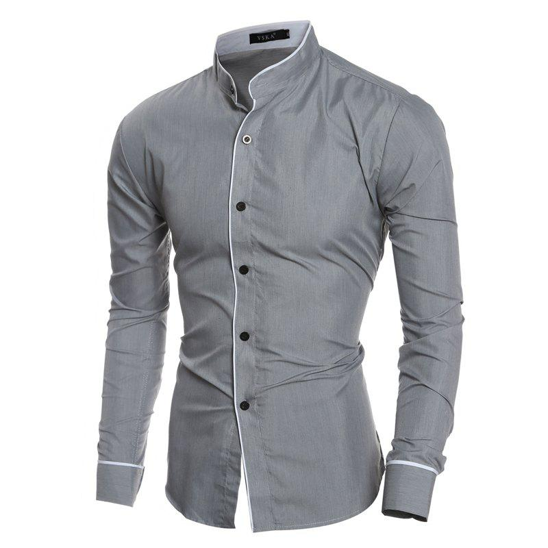 Hot Personality Striped Casual Stand Collar Men's Slim Casual Long Sleeve Shirt