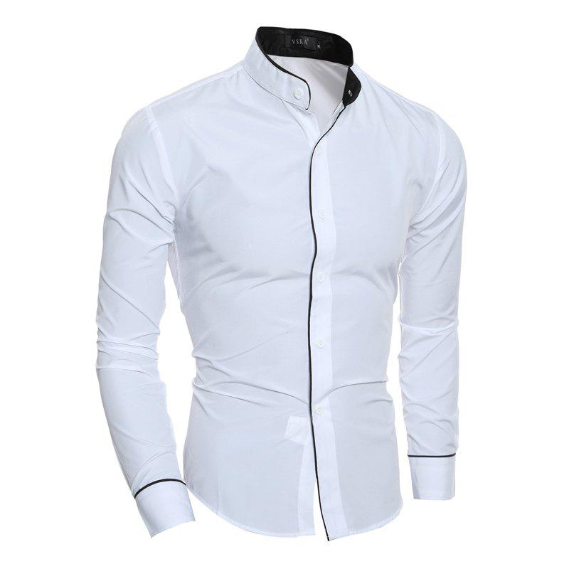 New Personality Striped Casual Stand Collar Men's Slim Casual Long Sleeve Shirt