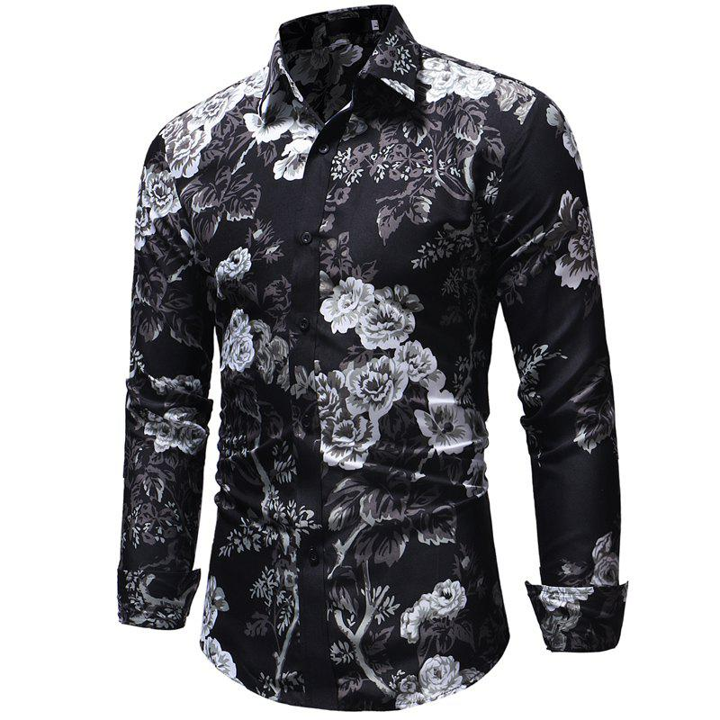 Online Men's Fashion Casual Long-Sleeved Shirt Slim