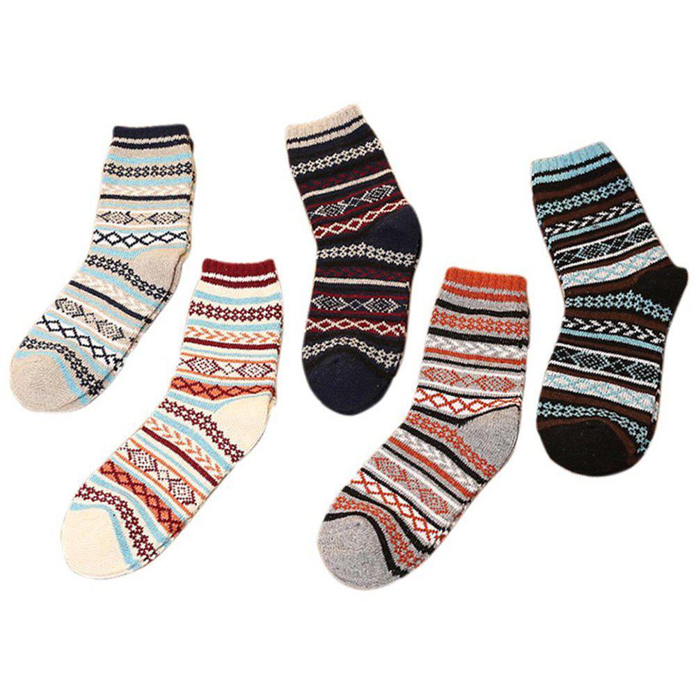 Store 5 Pair of Warm Sweater Ladies' Striped Socks