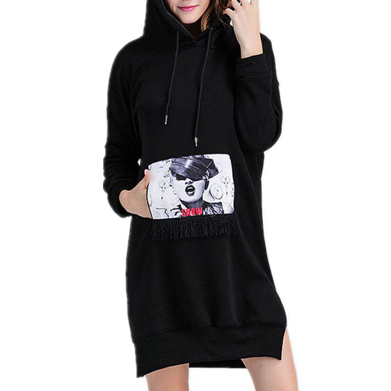 Chic Medium Length Cashmere  Thickened  Hooded Sequins  Sweater