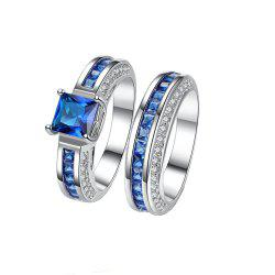 2pcs Fashion Delicate Square Zircon Ring -