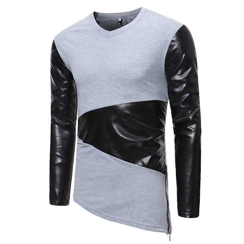 Shop Men's Fashion Small V-neck Leather Casual Long-sleeved T-shirt