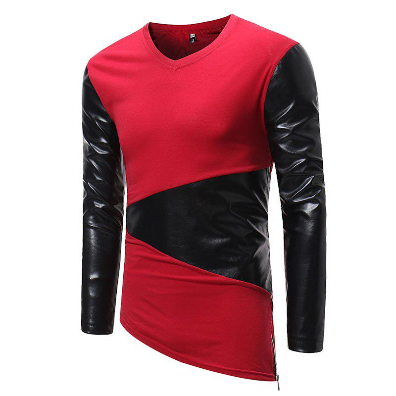 Shops Men's Fashion Small V-neck Leather Casual Long-sleeved T-shirt