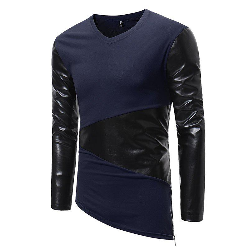 Fashion Men's Fashion Small V-neck Leather Casual Long-sleeved T-shirt