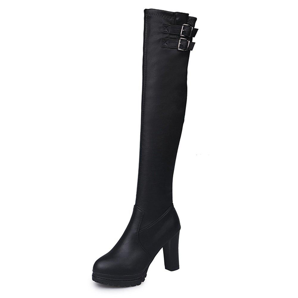 Latest High Heel Thick Bottom Water Resistant Table Slim Knee Spandex Boots