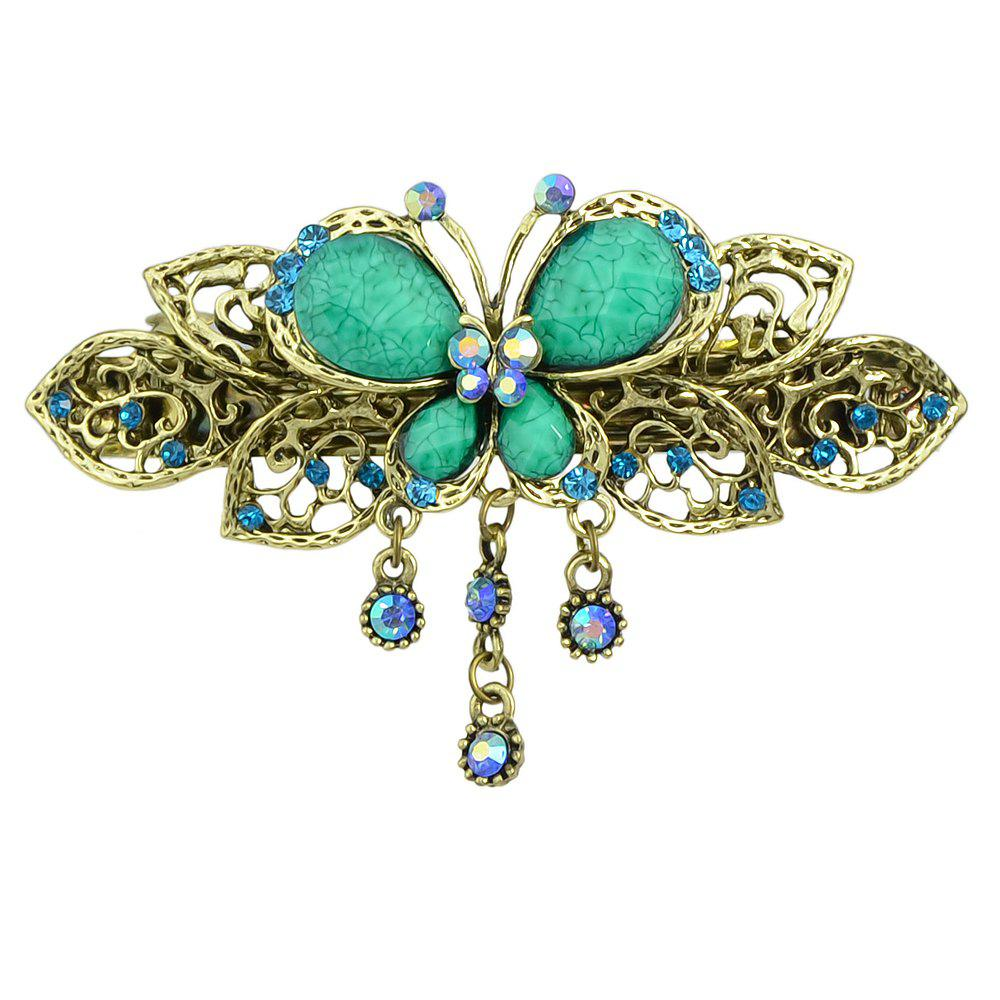 Best Fashion Colorful Meta Hollow-out Butterfly Gemstone Hairpin