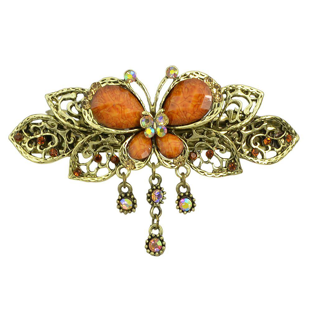 Sale Fashion Colorful Meta Hollow-out Butterfly Gemstone Hairpin