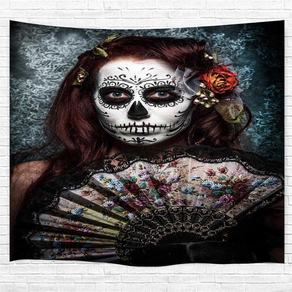 Unique Skull-Faced Woman 3D Printing Home Wall Hanging Tapestry for Decoration